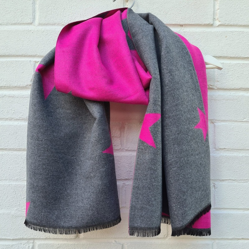 Two Tone Stars - Hot Pink & Grey
