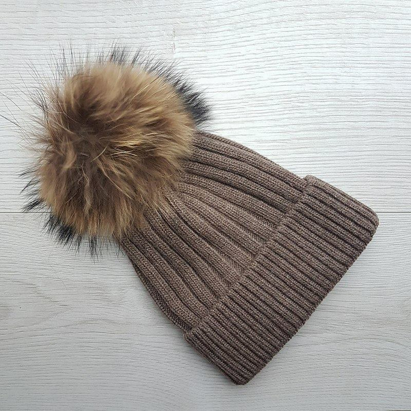Wool Blend Ribbed Pom Pom Hat - Brown