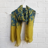 Abstract Flowers - Chartreuse Scarf