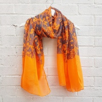 Abstract Flowers - Orange Scarf