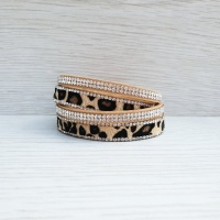 Animal Print Wrap Bracelet - Natural