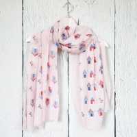 Beach Huts - Pink Scarf