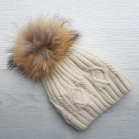 Cashmere Blend Cable Knit Pom Pom Hat - Cream