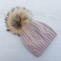 Cashmere Blend Cable Knit Pom Pom Hat - Dusty Pink