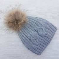 Cashmere Blend Cable Knit Pom Pom Hat - Grey