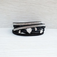 Diamante Heart Wrap Bracelet - Black