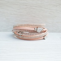 Diamante Heart Wrap Bracelet - Blush