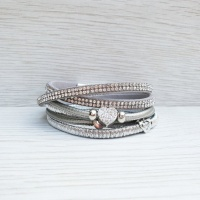 Diamante Heart Wrap Bracelet - Grey