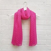 Ditsy Silver Hearts - Hot Pink Scarf