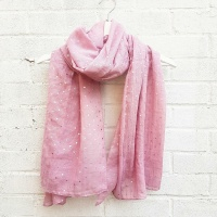 Ditsy Silver Hearts - Pink Scarf
