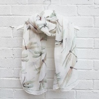 Dragonflies - Cream Scarf