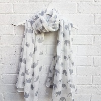 Elephants - White Scarf