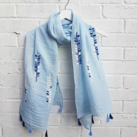 Embroided Vine - Blue Scarf