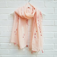 Embroided Vine - Pink Scarf