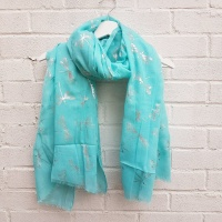 Glitter Dragonflies - Turquoise Scarf