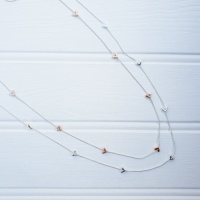 Mini Heart Necklace - Silver & Rose