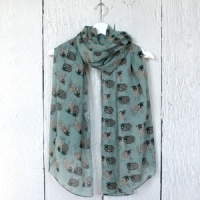 Sketched Sheep - Duck Egg Scarf