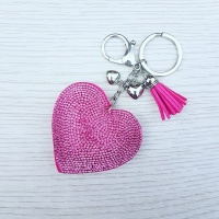 Sparkly Heart Keyring - Hot Pink