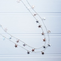 Star Charm Necklace - Silver & Rose