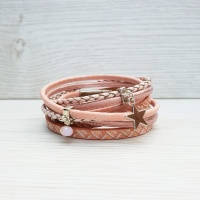 Star Charm Wrap Bracelet - Blush