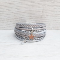 Star Charm Wrap Bracelet - Grey