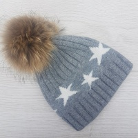 Cashmere Blend Star Pom Pom Hat - Grey
