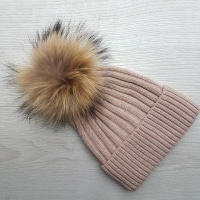 Wool Blend Ribbed Pom Pom Hat - Dusty Pink