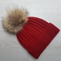 Wool Blend Ribbed Pom Pom Hat - Warm Red