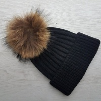 Cashmere Blend Ribbed Pom Pom Hat - Black